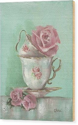 Two Cup Rose Painting Wood Print by Chris Hobel