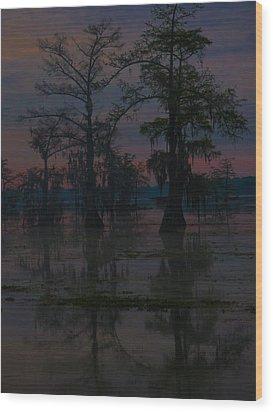 Two Cypress At Dawn Wood Print
