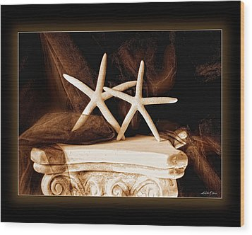 Wood Print featuring the photograph Two Dancing Starfish by Linda Olsen