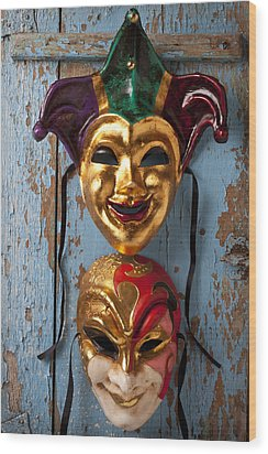 Two Decortive Masks Wood Print by Garry Gay