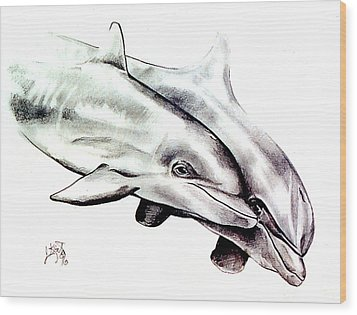 Two Dolphins Wood Print by John Keaton