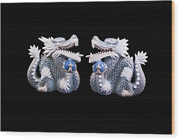 Two Dragons On Black Wood Print by Bill Barber