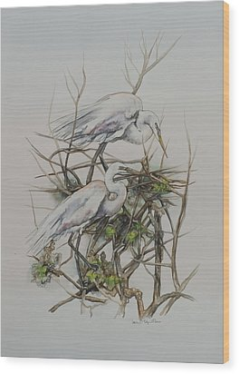 Two Egrets In A Tree Wood Print by Laurie Tietjen