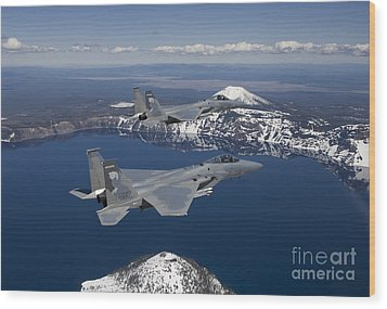 Two F-15 Eagles Fly Over Crater Lake Wood Print by HIGH-G Productions