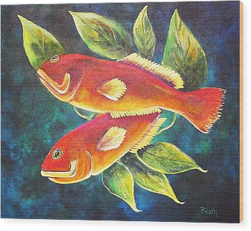 Two Fish Wood Print by Patricia Piffath