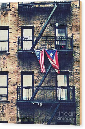 Two Flags In Washington Heights Wood Print by Sarah Loft