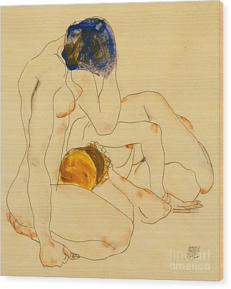 Two Friends Wood Print by Egon Schiele