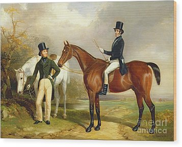 Two Gentlemen Out Hunting  Wood Print by Henry Barraud