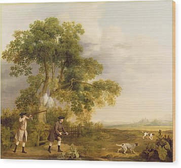 Two Gentlemen Shooting  Wood Print by George Stubbs