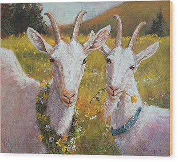 Two Goats Of Summer Wood Print by Tracie Thompson