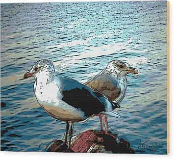 Two Gulls Wood Print by Ann Tracy