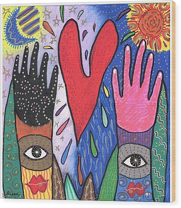 Two Hands Wood Print by Sharon Nishihara