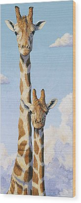 Two Heads In The Clouds Wood Print by Lucie Bilodeau