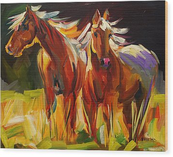 Two Horse Town Wood Print
