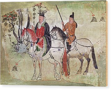 Two Horsemen In A Landscape Wood Print by Chinese School