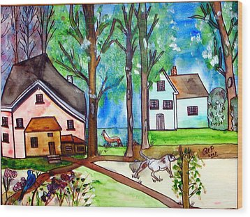 Two Houses In The Woods. Wood Print by Patricia Fragola