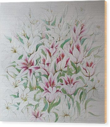 Two Kinds Of Lilies Wood Print