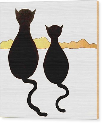 Two Kitties Wood Print