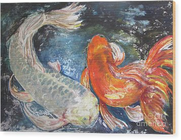Wood Print featuring the painting Two Koi by Susan Herbst