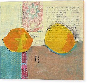 Two Lemons Wood Print by Laurie Breen