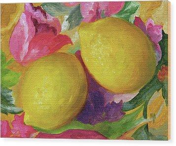 Two Lemons Wood Print