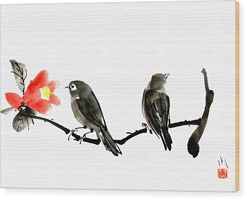 Two Little Birds Wood Print