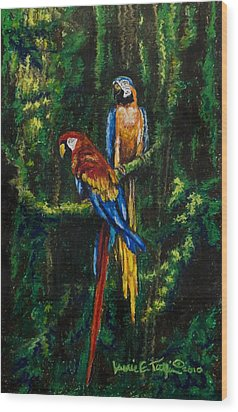 Two Macaws In The Rain Forest Wood Print by Laurie Tietjen