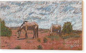 Two Mustangs Wood Print by Suzie Majikol Maier