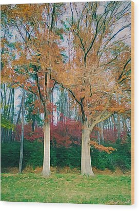 Two Oaks Wood Print