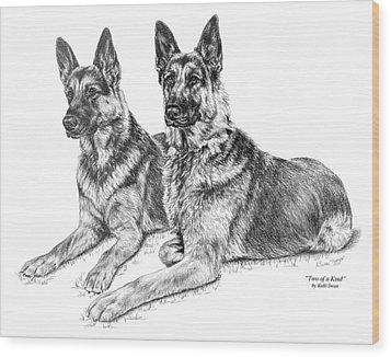 Two Of A Kind - German Shepherd Dogs Print Wood Print by Kelli Swan