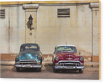 Wood Print featuring the photograph Two Old Vintage Chevys Havana Cuba by Charles Harden