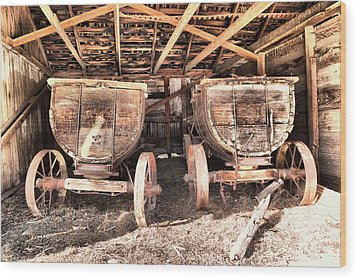 Wood Print featuring the photograph Two Old Wagons by Jeff Swan