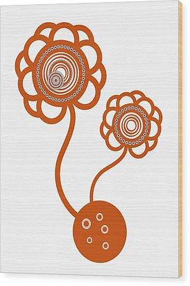 Two Orange Flowers Wood Print by Frank Tschakert