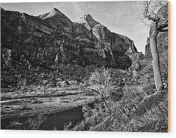 Two Peaks - Bw Wood Print by Christopher Holmes