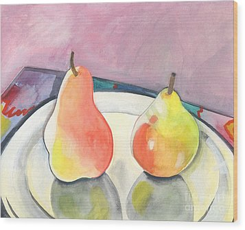 Two Pears Wood Print by Helena Tiainen