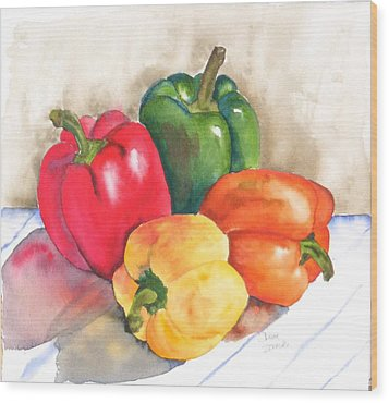 Two Peppers Wood Print by Diane Ziemski