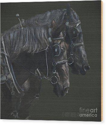 Two Percherons Wood Print