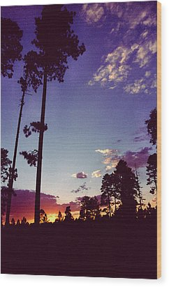 Two Pines Sunset Wood Print