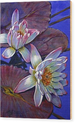 Two Pink Water Lilies Wood Print by John Lautermilch