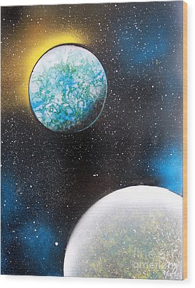 Wood Print featuring the painting Two Planets by Greg Moores