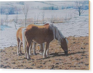 Two Ponies In The Snow Wood Print
