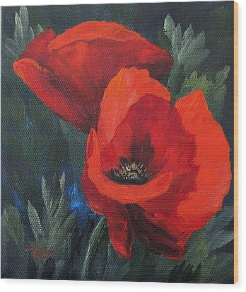 Two Poppies  Wood Print by Torrie Smiley