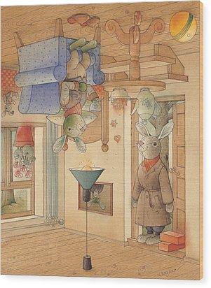 Two Rabbits Wood Print by Kestutis Kasparavicius