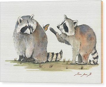 Two Raccoons Wood Print