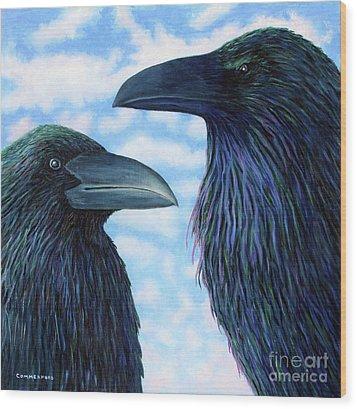 Two Ravens Wood Print