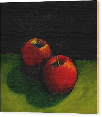 Two Red Apples Still Life Wood Print by Michelle Calkins