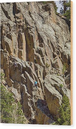 Wood Print featuring the photograph Two Rock Climbers Making Their Way by James BO Insogna