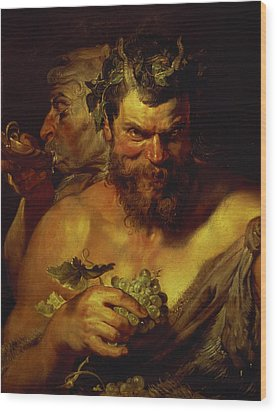 Two Satyrs Wood Print by Peter Paul Rubens
