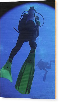 Two Scuba Divers Swimming Wood Print by Sami Sarkis