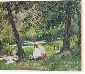 Two Seated Women Wood Print by Mary Stevenson Cassatt